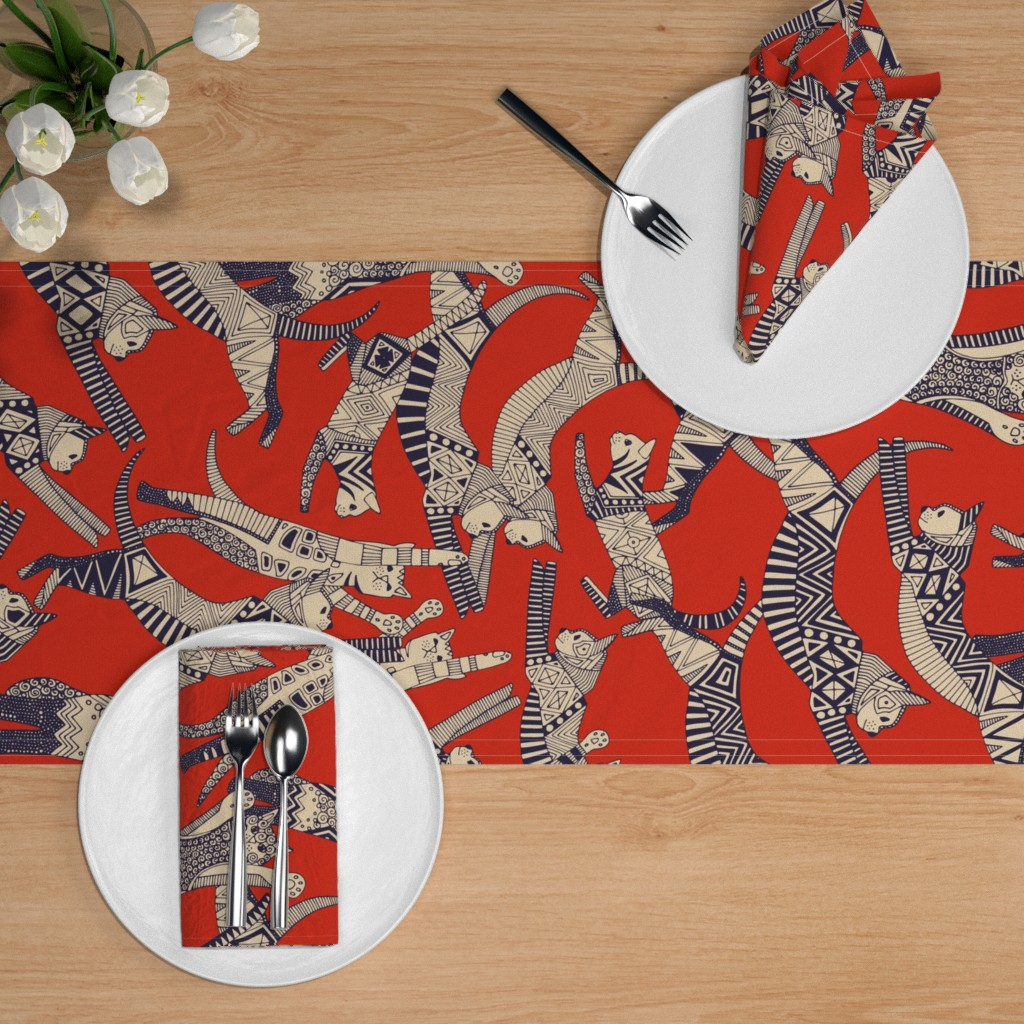Retro Look  Mid Century Cat Faces Cotton Sateen Table Runner by Spoonflower Vintage Kitties by mintgreensewingmachine Cats Table Runner