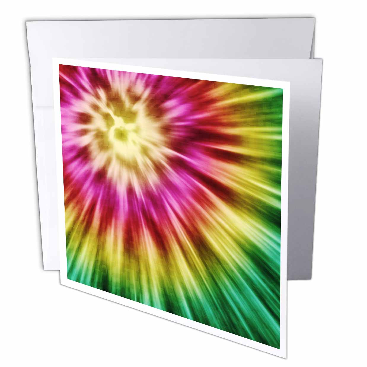 3dRose Tie Dye Green starburst tie dye design in green yellow and red, Greeting Cards, 6 x 6 inches, set of 12