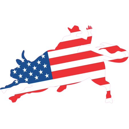 Flag Vinyl Decal Bumper - 5x3 Die Cut American Flag Bull Rider Sticker Vinyl Hobby Vehicle Bumper Decal