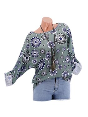 581a57a9 Product Image T-shirts For Women Summer Casual Circle Floral Printed O-neck  Batwing Sleeve Tunic