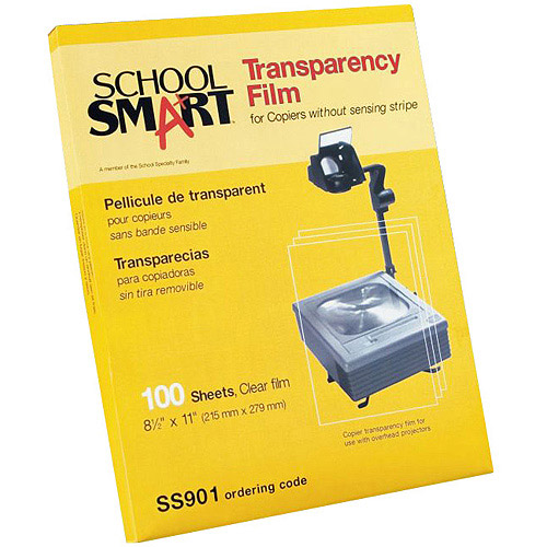 """School Smart Inkjet Transparency Film with Removable Strip, 8.5"""" x 11"""", 50-Pack"""
