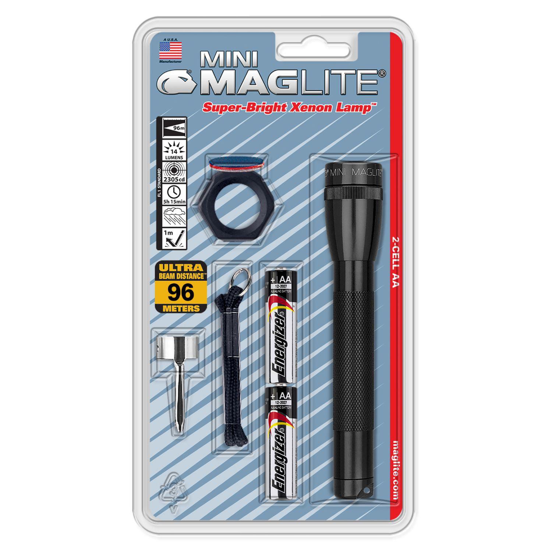 Maglite SP2209H 2 Cell Aa Mini LED Flashlight Gray-Blister Pack