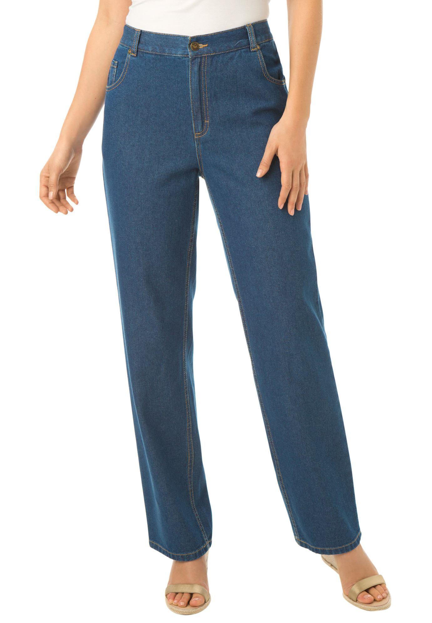 Woman Within Plus Size Tall Side-elastic Straight Leg Cotton Jean