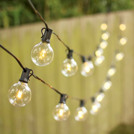 100 LED Globe String Lights, Black Wire, Outdoor, W/Warm White G50 Bulbs - Walmart.com