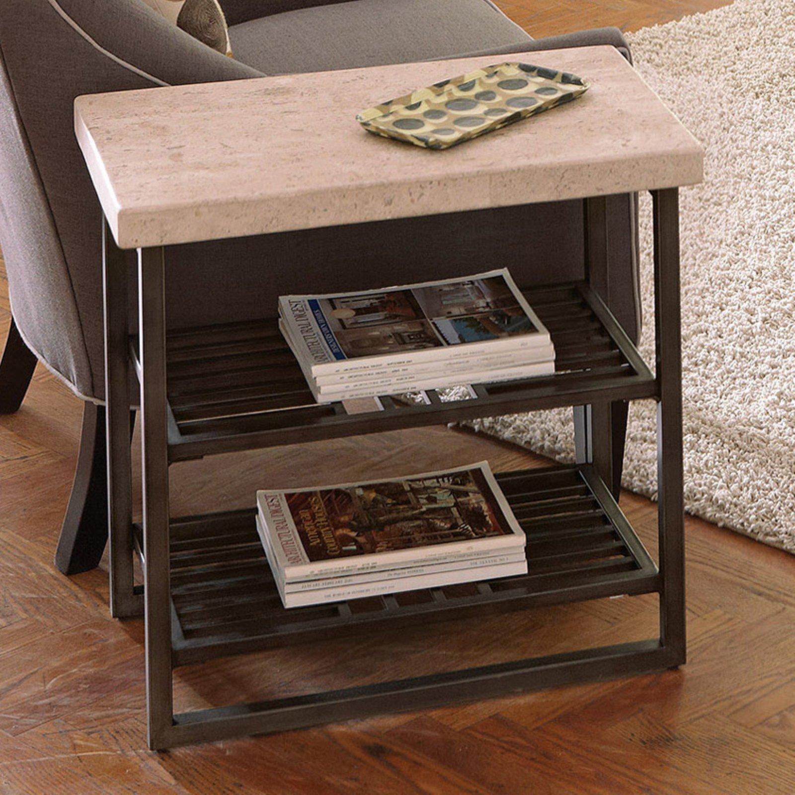 Riverside Capri Chair Side Table - Alabaster Travertine