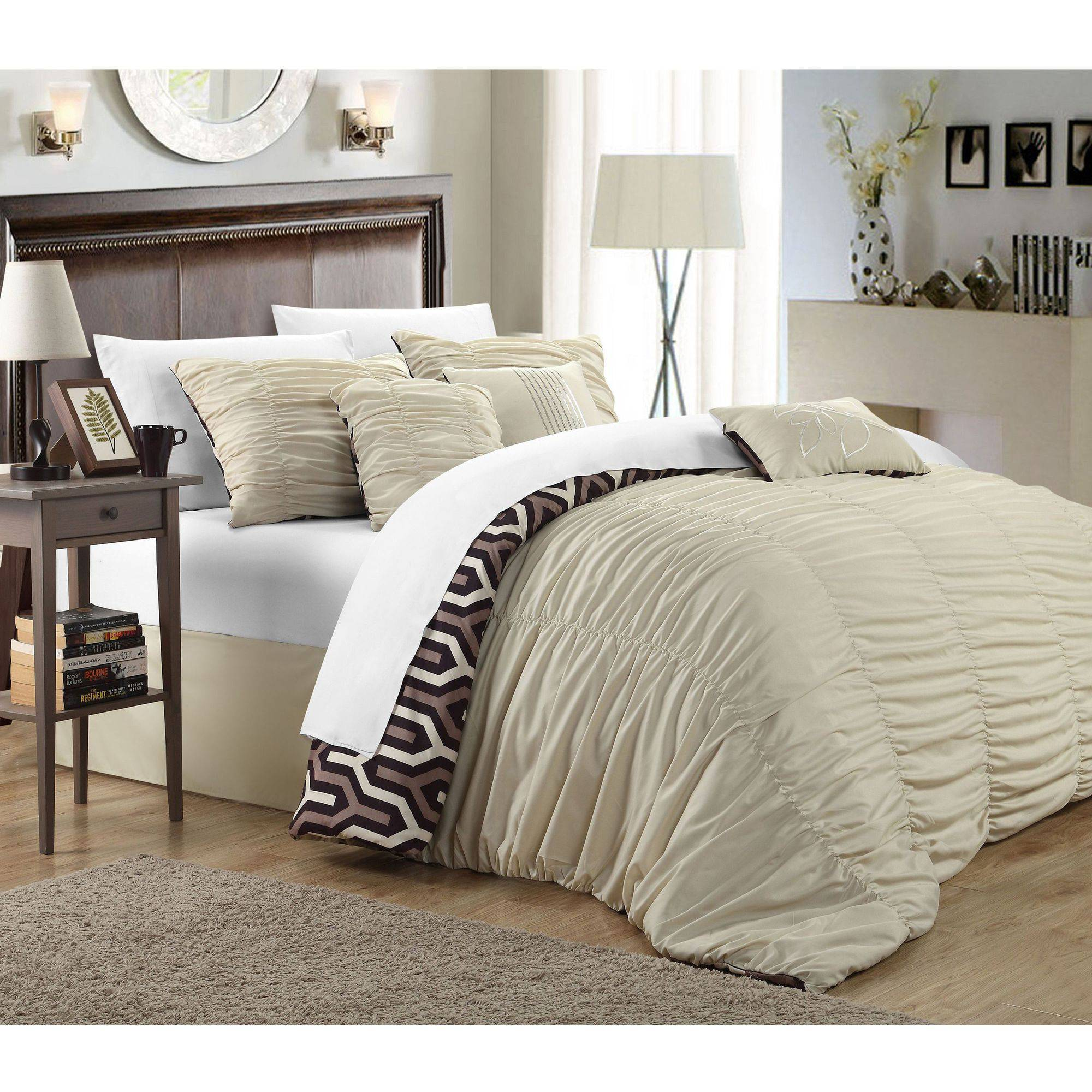 Chic Home Oversized Overfilled 7-Piece Lester Pleated Ruffled Reversible Creased Comforter Set
