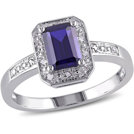Tangelo 1-3/5 Carat T.G.W. Emerald-Cut Created Blue Sapphire and Diamond-Accent Sterling Silver Engagement Ring