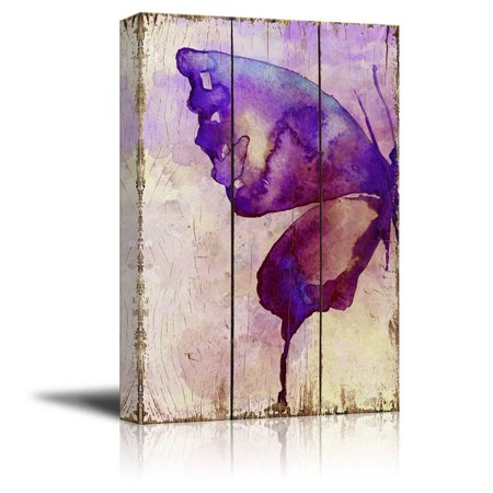 wall26 Purple Watercolor Butterfly Wings Over Wood Panels - Nature - Canvas Art Home Decor - 32x48 - Wood Butterfly