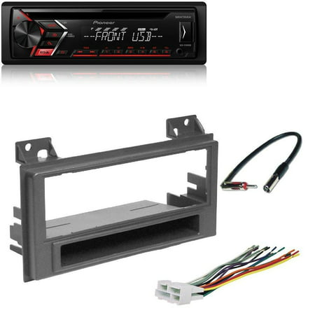 PIONEER DEH-S1000UB CD USB AUX REMOTE CAR STEREO ANDROID COMPATIBLE RADIO GMC CAR STEREO SINGLE DIN RADIO MOUNT INSTALL DASH KIT COMBO GM1515B With Wire Harness And - Compatible Stereo