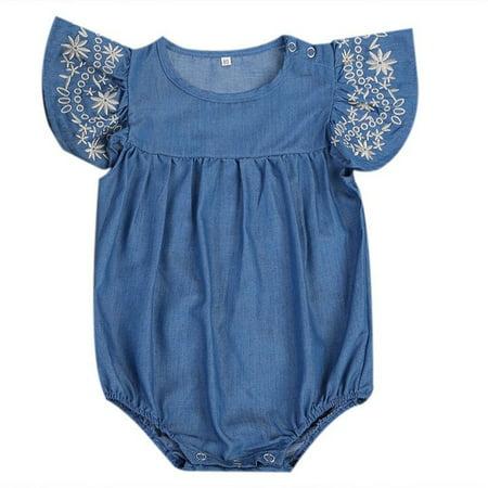 0da25f65d1ff Fashion Newborn Baby Girl Denim Romper Jumpsuit Bodysuit Outfits Sunsuit  Clothes - Walmart.com