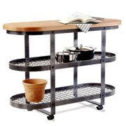 Gourmet Kitchen Island with Steel Finish Frame and Wood Top