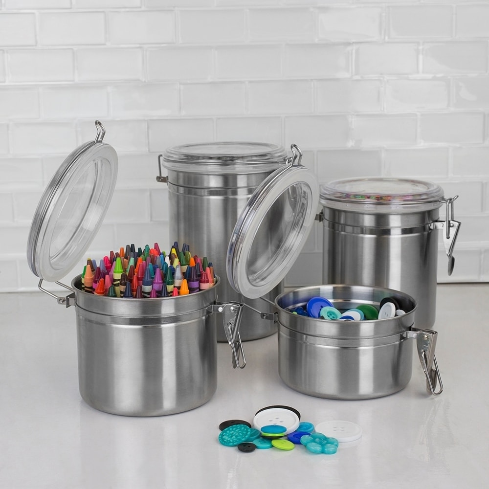 4-Piece Home Basics Canister Set Stainless Steel Clear Bottom Base Visibility