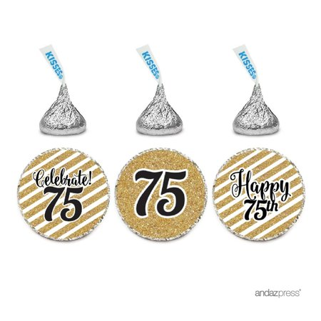 Chocolate Party Favors (Milestone Chocolate Drop Labels Trio, Fits Hershey's Kisses Party Favors, 75th Birthday, 216-Pack, Not Real)