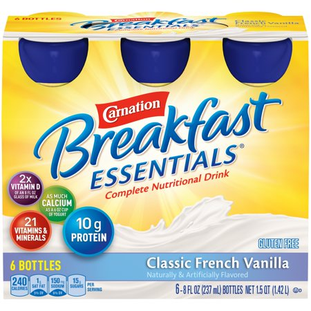 Carnation Breakfast Essentials, Classic French Vanilla, 8 fl. oz. Bottles, 6 Count