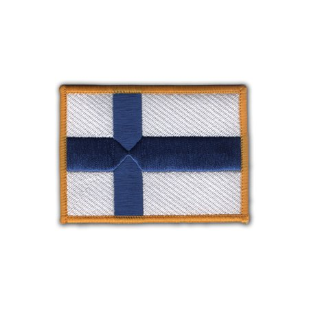 Finland Ribbons - Flag of Finland with border Embroidered Patch 3.5