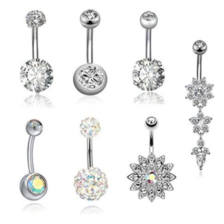 7Pcs/Set Stainless Steel Zircon Belly Button Body Jewelry Navel Ring Silver ()