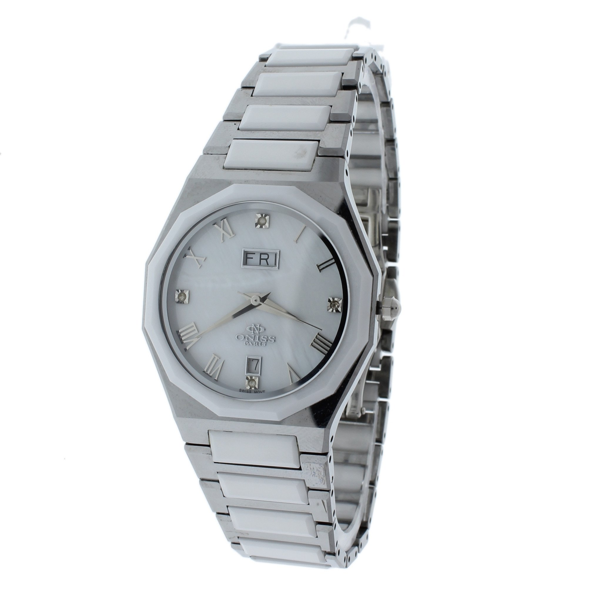 Oniss ON622-LWT Womens Watch White Dial Tungsten ; Cerami...