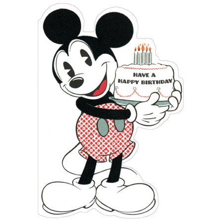 Sunrise Greetings Mickey Mouse Holding Cake Diecut Disney Birthday Card](Mickey Mouse Birthday Invites)
