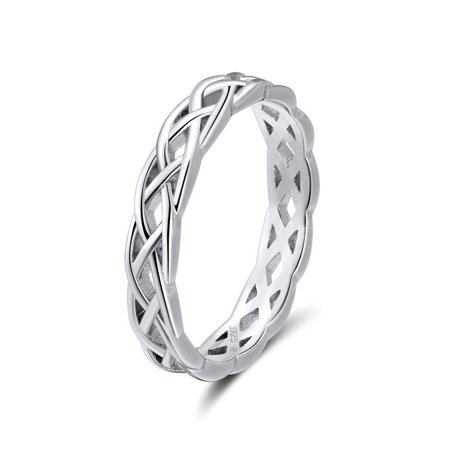 Ginger Lyne Collection Unique Twisted Sterling Silver Eternity Wedding Bridal Band Ring