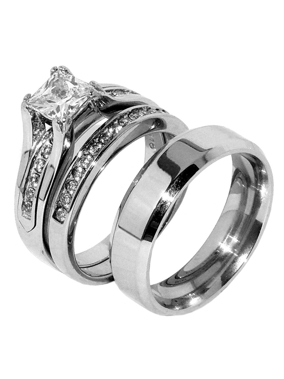 La Ny Jewelry His Hers Couple One Carat Princess Square Cz