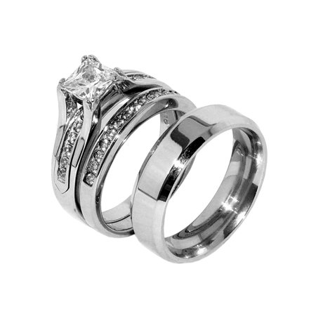 His Hers Couple One Carat Princess Square CZ Wedding Ring set Mens Flat Band- Size W5M7