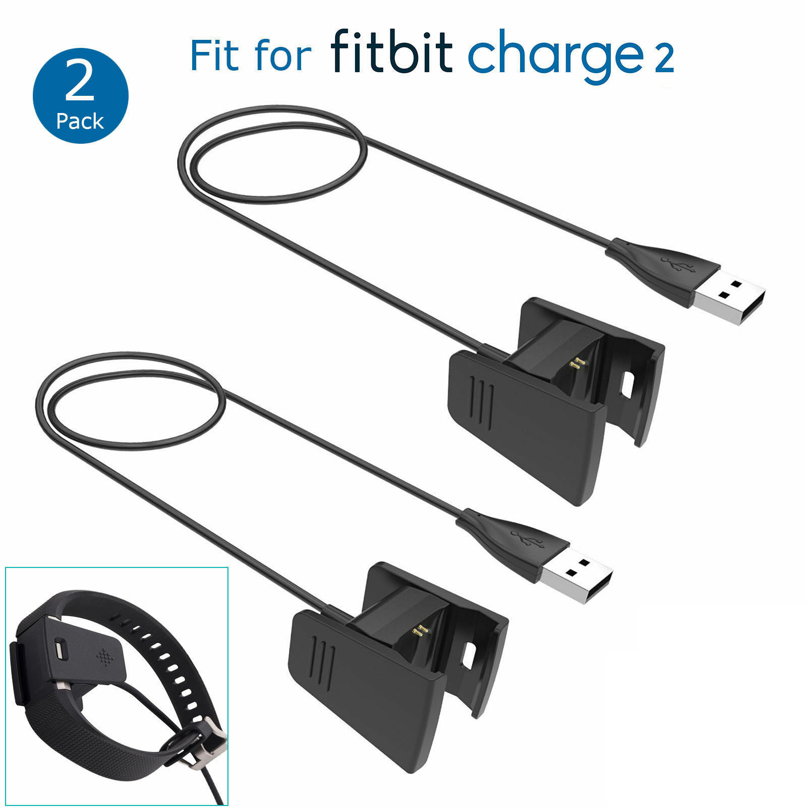 EEEKit USB Charger Cord, 2-Pack Replacement Accessory Charging Dock Cable for Fitbit Charge 2 Activity Tracker