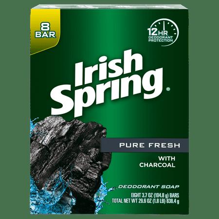 (2 pack) Irish Spring Pure Fresh Charcoal Bar Soap, 3.7 Ounce, 8 Bar Pack