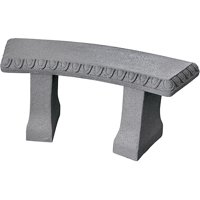 "Garden Bench – Natural Granite Appearance – Made of Resin – Lightweight – 12"" Height"