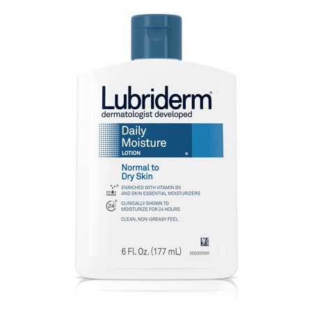 (2 pack) Lubriderm Daily Moisture Hydrating Lotion with Vitamin B5, 6 fl. oz Super Hydrating Moisture Lotion
