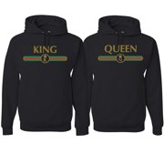 King Queen Streetwear Logo Parody His and Hers Matching Couples Hoodie Sweatshirts Set , Black, Mens S-Womens S