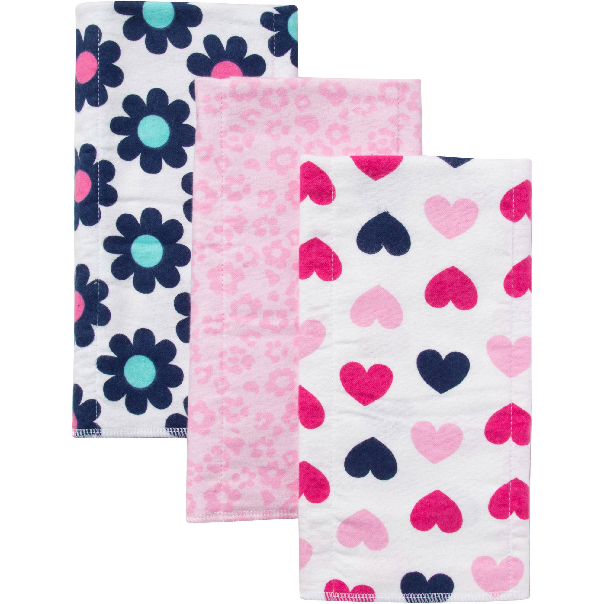 Gerber Newborn Baby Boy Flannel Burp Cloths, 3-pack