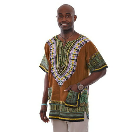 Africa Shirt (Bronze Brown Traditional African Print Dashiki Shirt)