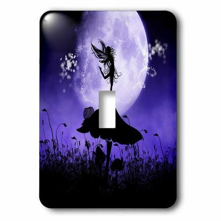 3dRose A fairy dancing on a mushroom - purple black fairy silhouette, Single Toggle Switch