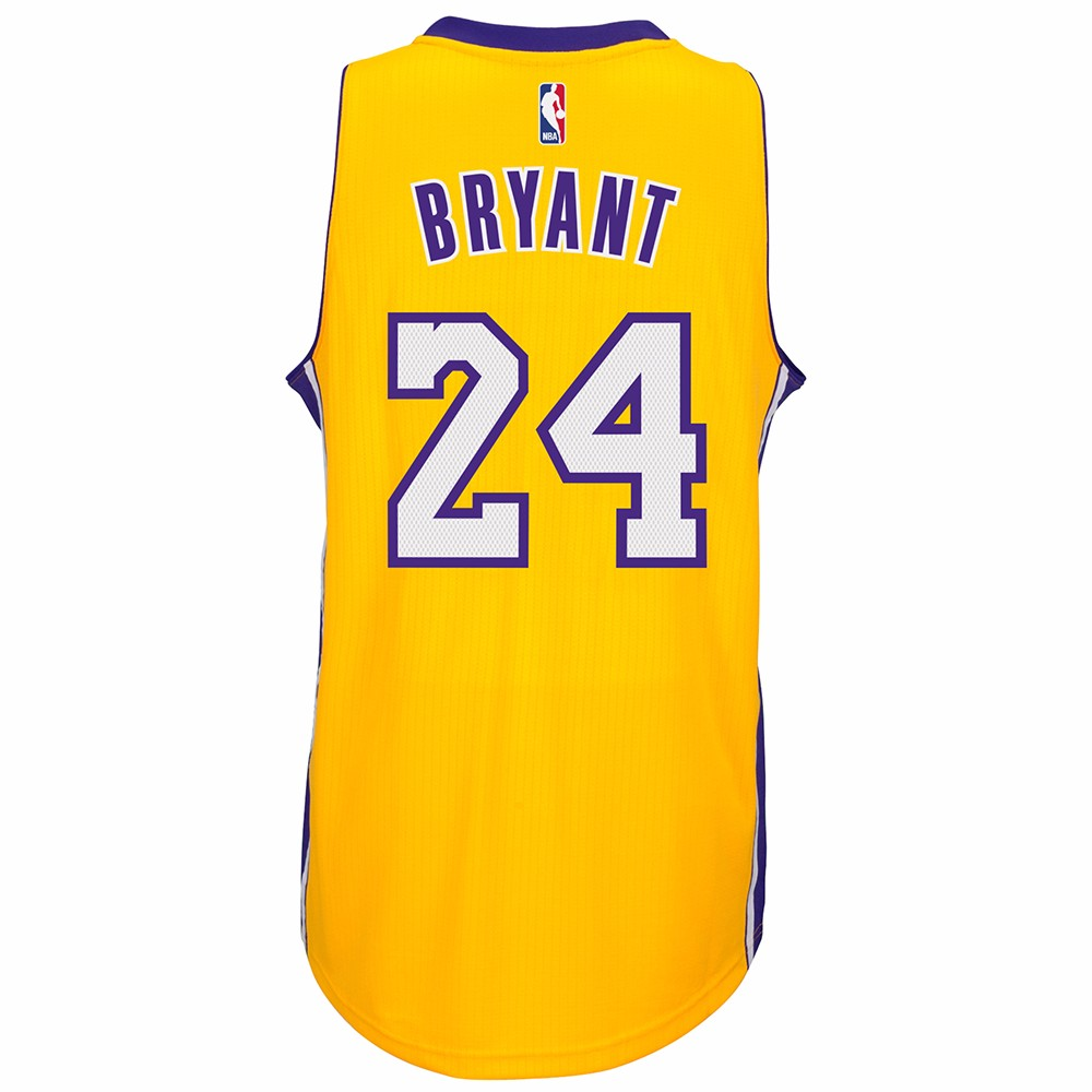 Kobe Bryant Los Angeles Lakers NBA Adidas Gold Official Climacool Home Swingman Jersey For Men