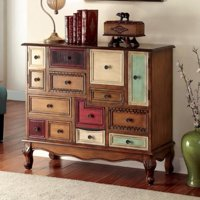 Vintage Style Wooden Accent Chest, Antiqued Walnut Brown