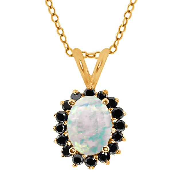 Simulated Opal Black Diamond Gold Plated 925 Silver Pendant 1.37 Cttw With 18 Inch Chain