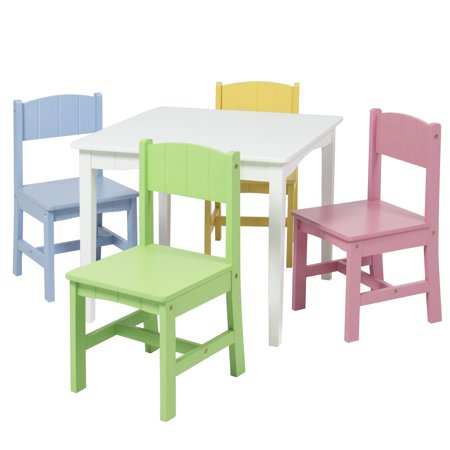 Best Choice Products Wooden Kids Table And 4 Chairs Set