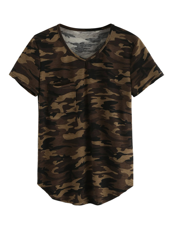 Women Casual V-neck Camo Short Sleeve T-shirt