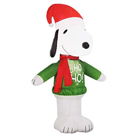 Gemmy Peanuts Snoopy with Santa Hat and Ho Ho Sweater 3.5 Ft Christmas Holiday Airblown Inflatable ()