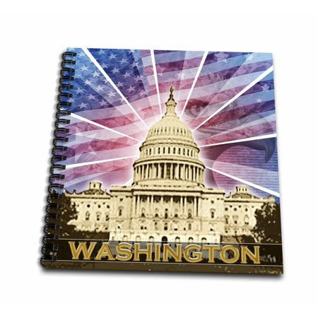 3dRose Washington DC patriotic American flag with Bald Eagle and Capitol building - Drawing Book, 8 by 8-inch