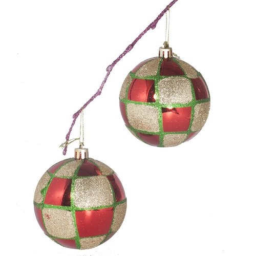 Perfect Holiday 3.14'' Shatterproof Handpainted Christmas Ornament Ball Ornament (Set of 2)