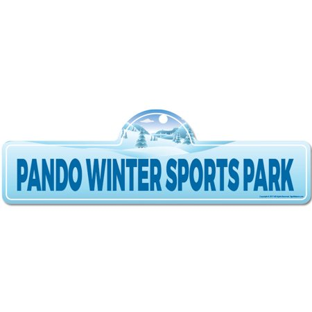 Pando Winter Sports Park Street Sign | Indoor/Outdoor | Skiing, Skier, Snowboarder, Décor for Ski Lodge, Cabin, Mountian House | SignMission personalized gift - Winter Park Halloween Events