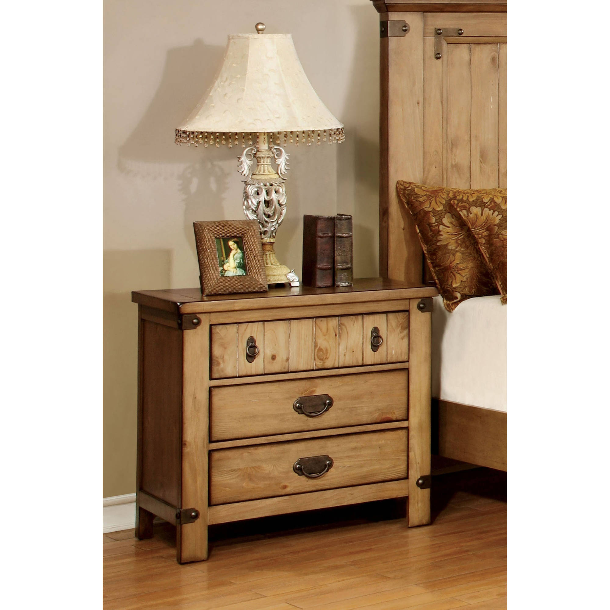 Furniture of America Moira Country Style 3-Drawer Nightstand, Weathered Elm