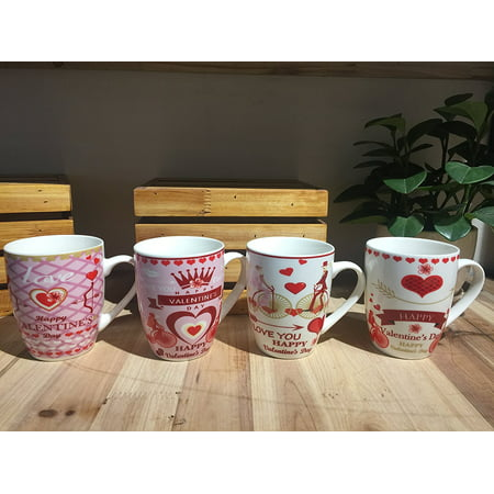 All For You New Bone China Mug with Gift Box-I Love You, Valentine's Day-, Heart-Set of 4, 12 Oz, Gift Box (1012-4PCS)