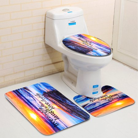 3Pcs Bathroom Set Soft Microfiber Pedestal Rug + Lid Toilet Cover + Non-Slip Bath Mat Doormat Sandy Beach Pattern Polyester Fiber Material Home Decor -Water (Best Water Absorbent Material)