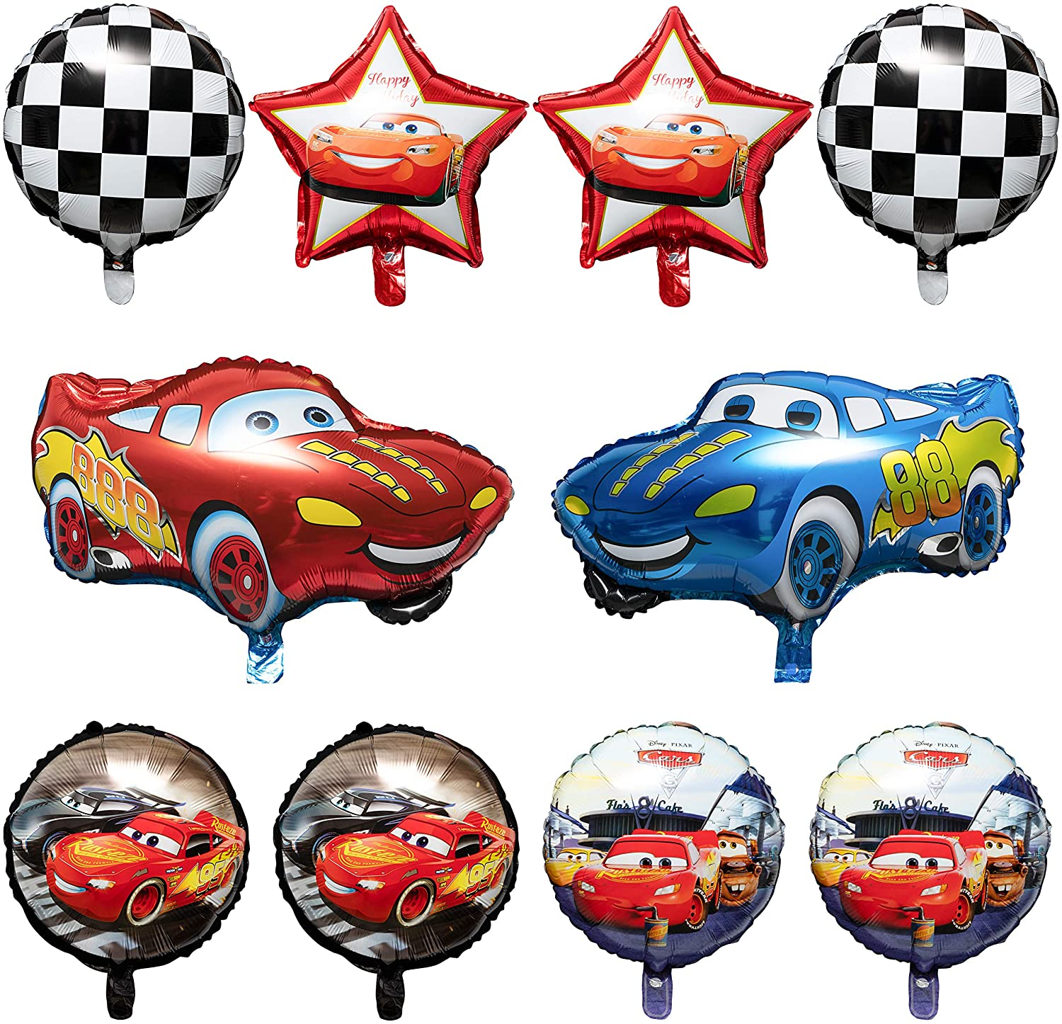 Racing Theme 12Inch Assorted Colors Latex Balloons Bouquet with Ribbons Let/'s Go Racing Party Favors Decorations Supplies for Kids Boys Birthday Baby Shower PANTIDE 50 Packs Race Car Balloons