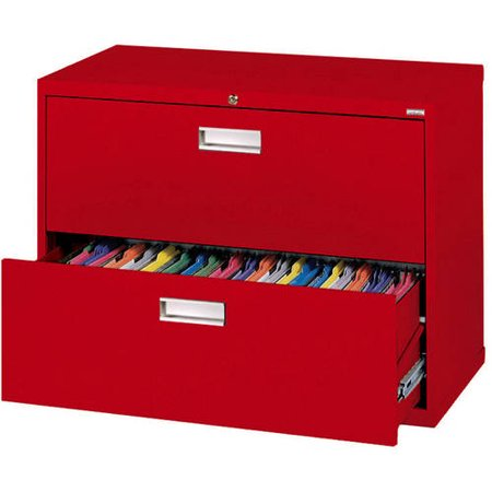 "Sandusky Lee 600 Series 36"" 2-Drawer Lateral File, Red"