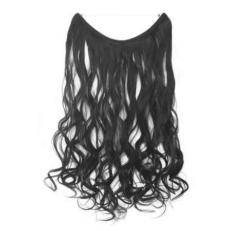 FLORATA One Pieces Like Human Remy Hair Invisible Wire Hidden Extensions 20 Inch Long Dark Black/Dark (Dark Brown Extension)