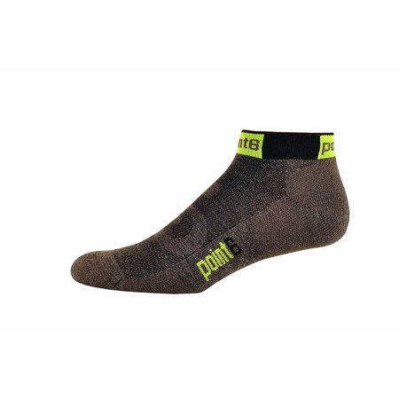 Point6 Stealth Extra Light Mini Crew Socks, Grey/Neon Yellow, Large - NEW