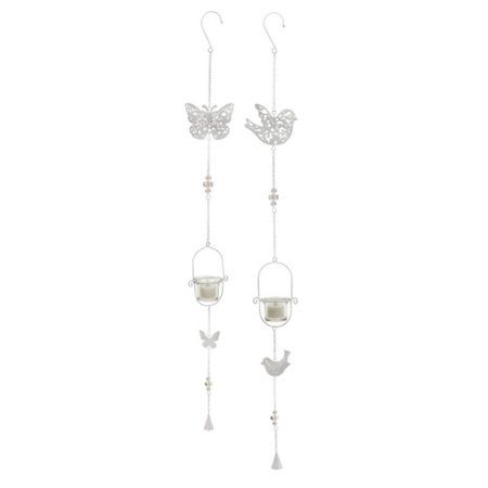 Pack of 6 White Bird and Butterfly Wind Chimes with Hanging Votive Candle Holders 36
